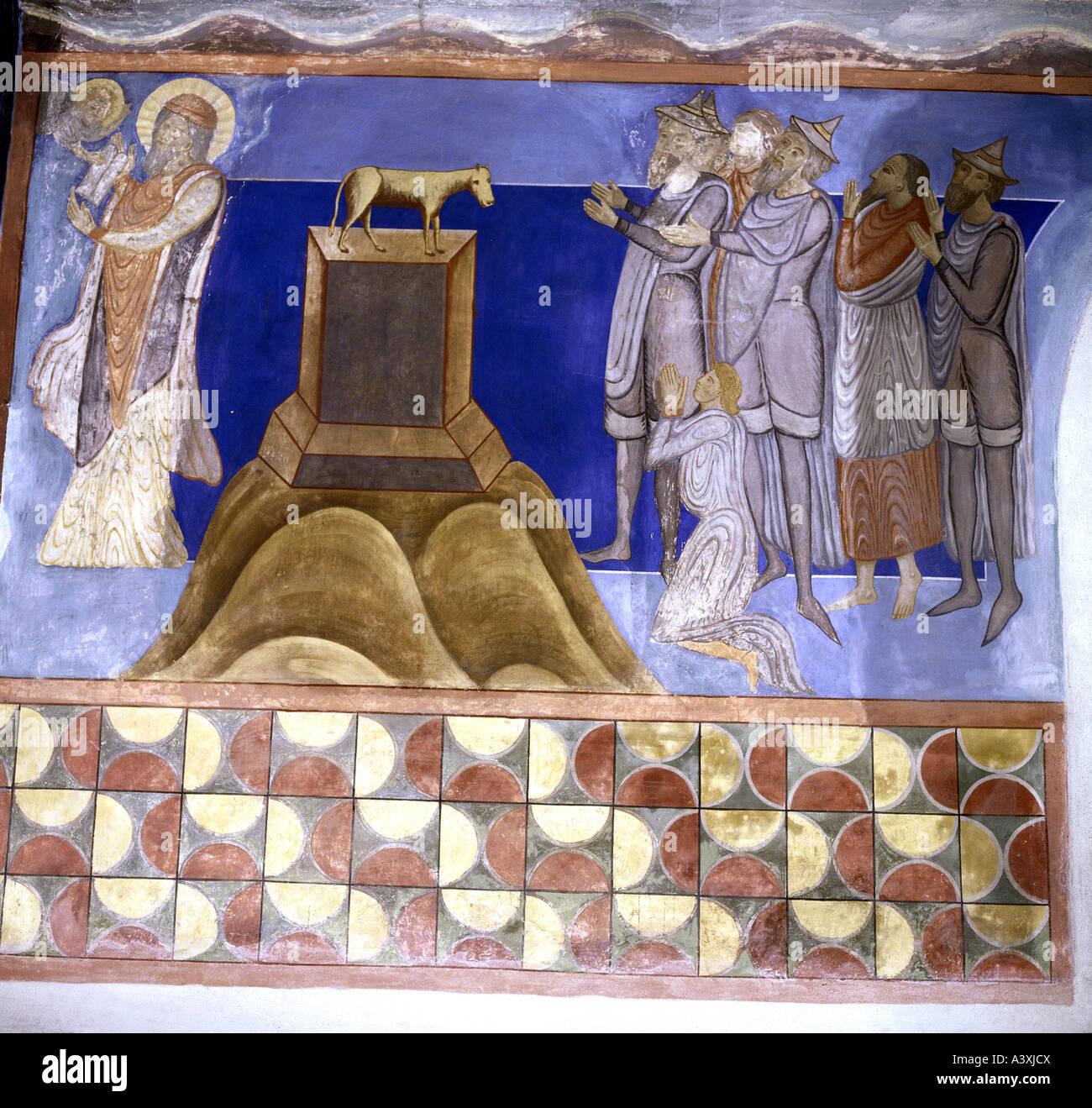 Belle arti, l'arte religiosa, scene bibliche, Golden Calf, pittura, affresco del XIII secolo, Chiesa di Bjäresjö, Immagini Stock