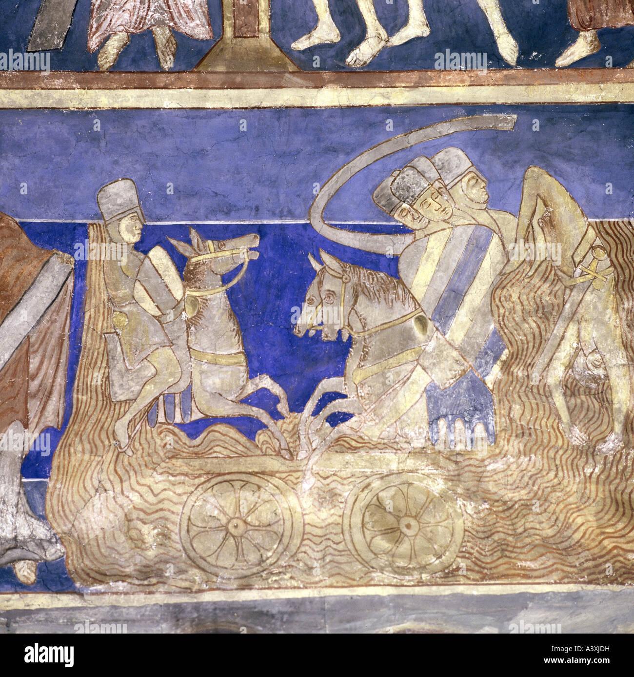 Belle arti, l'arte religiosa, scene bibliche, estraibile degli Egiziani nel Mar Rosso, pittura, affresco del Immagini Stock