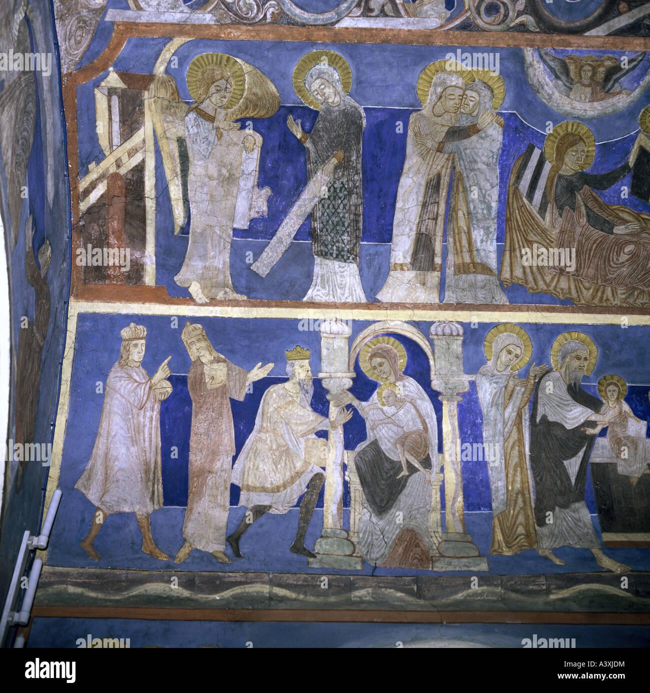 Belle arti, l'arte religiosa, Santa Maria, l'annunciazione, la visitazione e l adorazione dei Magi, pittura, Immagini Stock