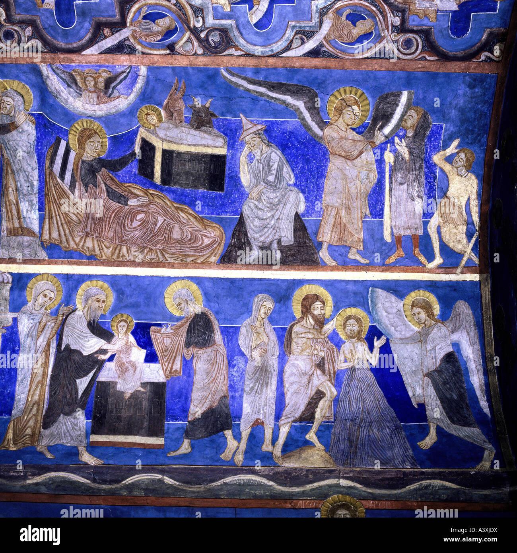 Belle arti, l'arte religiosa, Gesù Cristo, annuniciation ai pastori, la presentazione al tempio e battesimo, Immagini Stock