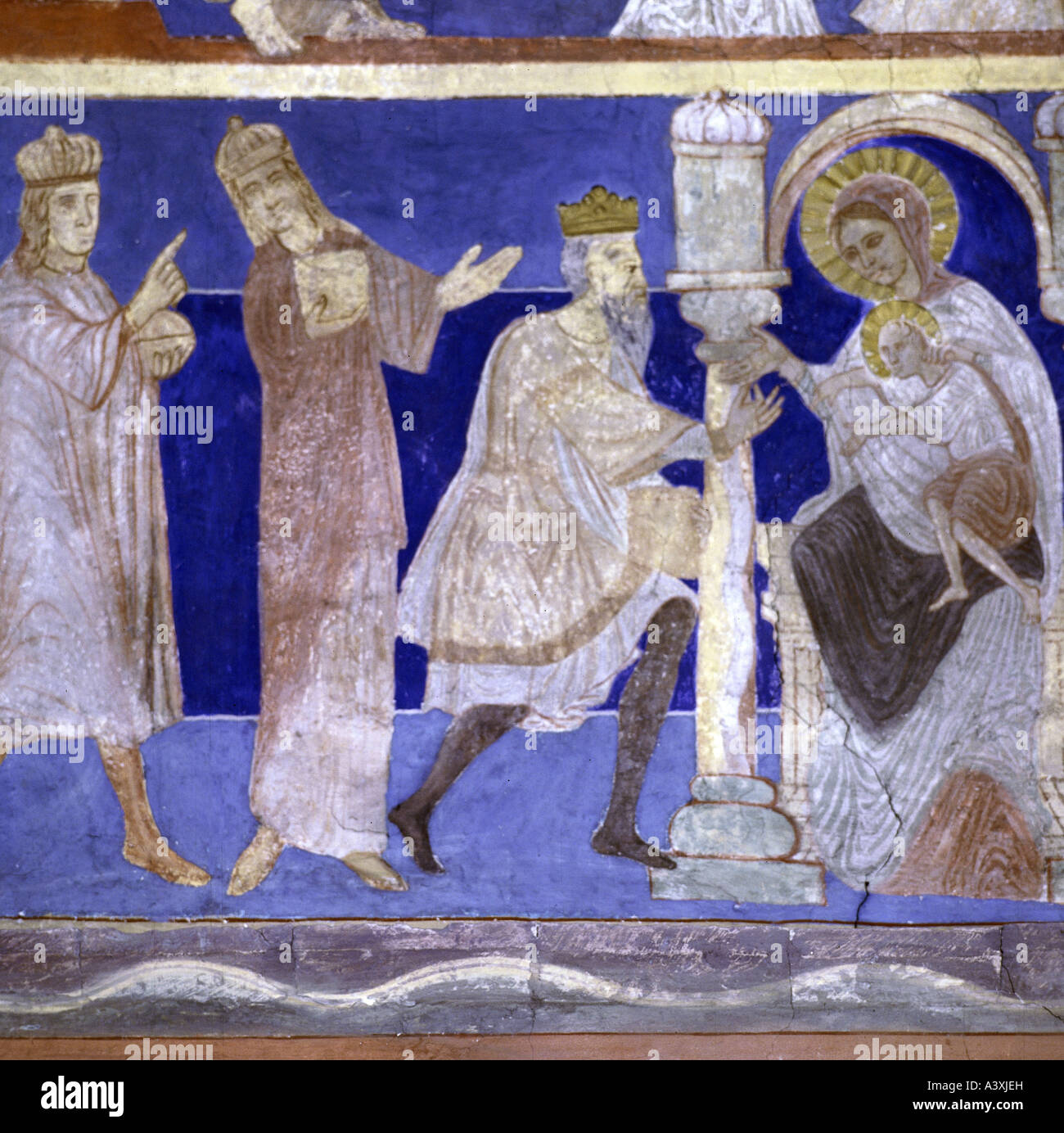Belle arti, l'arte religiosa, Gesù Cristo, la nascita, l adorazione dei Magi, pittura, affresco del XIII Immagini Stock