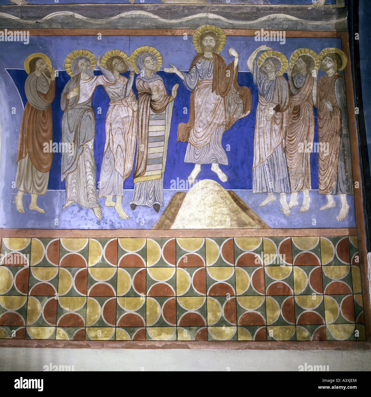 Belle arti, l'arte religiosa, Gesù Cristo, ascensione, pittura, affresco del XIII secolo, Chiesa di Bjäresjö, Immagini Stock