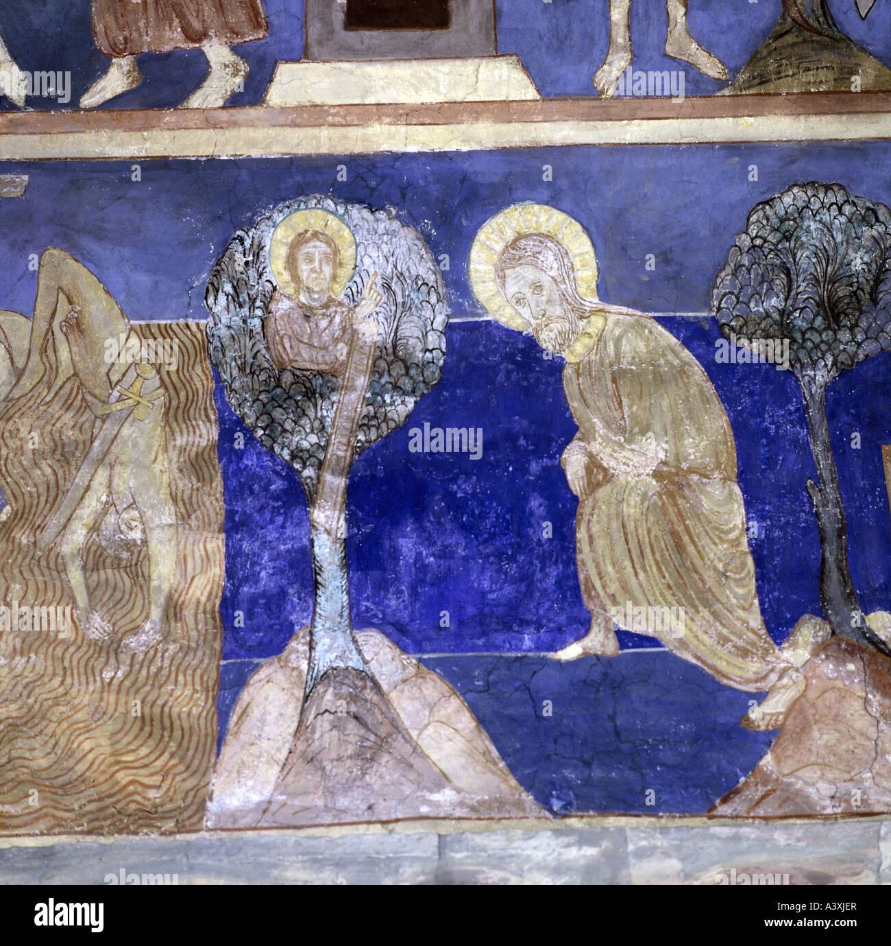 Belle arti, l'arte religiosa, Gesù Cristo, la genealogia, pittura, affresco del XIII secolo, Chiesa di Immagini Stock