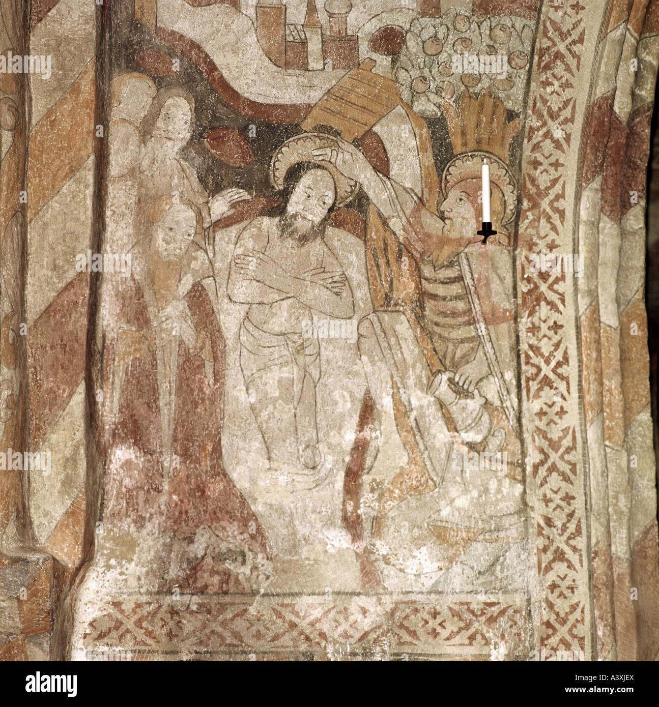 Belle arti, l'arte religiosa, Gesù Cristo, battesimo, dipinti, affreschi, dettaglio del XVI secolo, Chiesa Immagini Stock