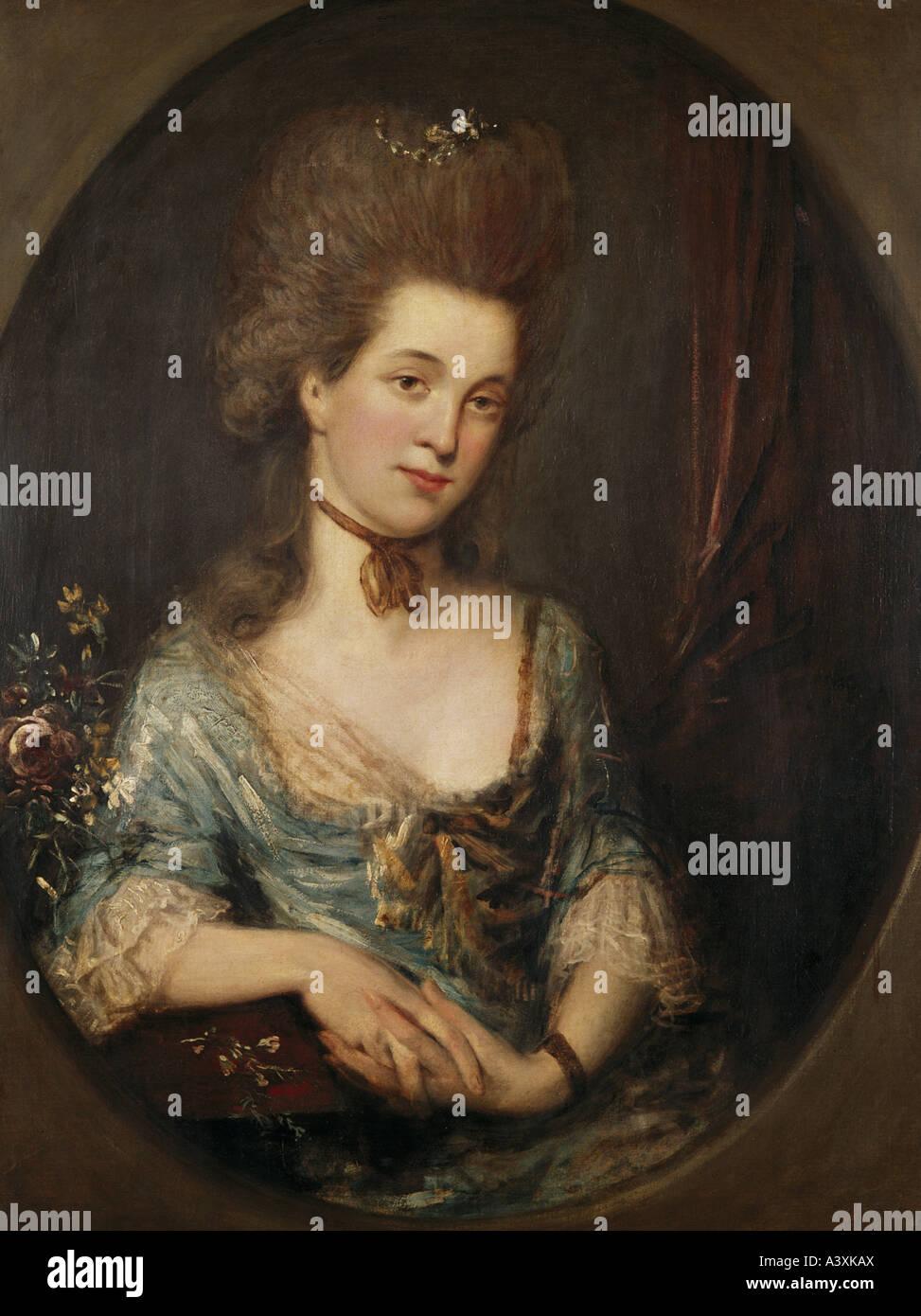 """""""Belle Arti, Gainsborough, Thomas (1727 - 1788), pittura, """"Ritratto di dama"""", olio su tela, 91,5 Immagini Stock"""