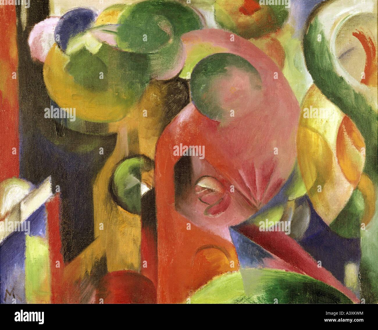 """""""Belle Arti, Marc Franz, (1880 - 1916), pittura, """"Kleine Komposition III' ('small composizione III""""), 1913 - 1914, olio su c Foto Stock"""