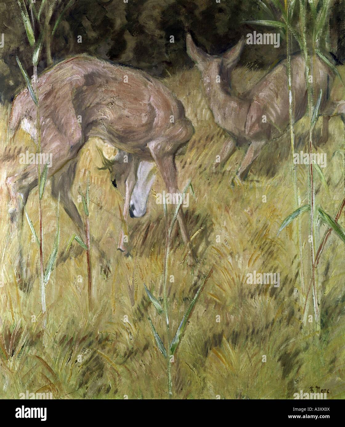 """Belle Arti, Marc Franz, (1880 - 1916), pittura, 'Rehe im Schilf', 'deers nel pettine"", 1909, olio su tela, 88,5 cm x 78,5 Foto Stock"