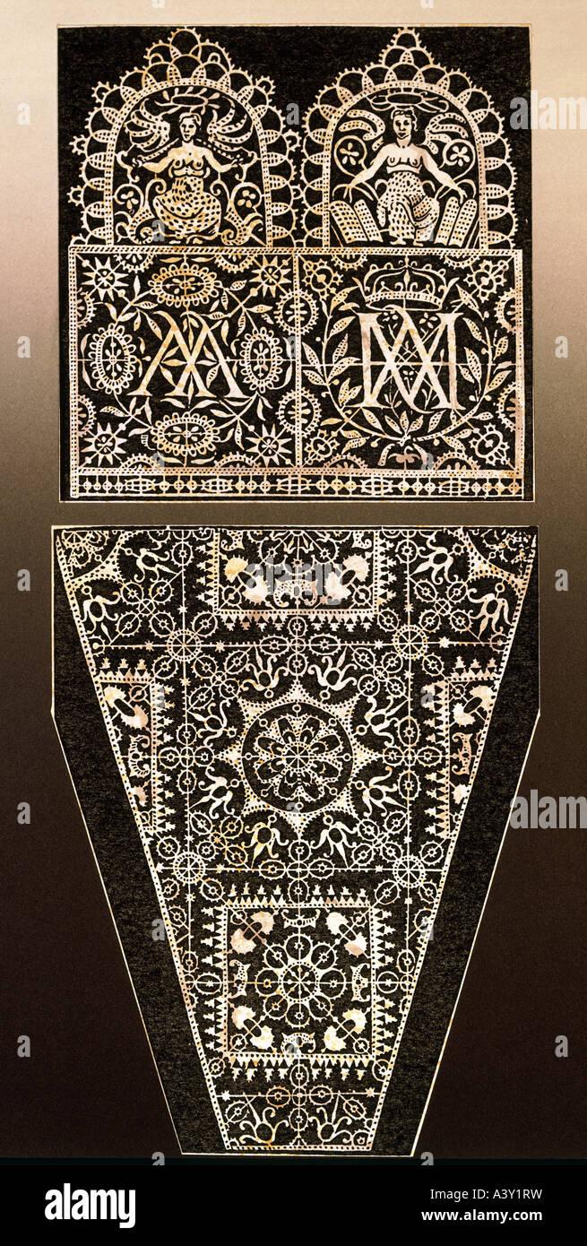 Tessile / tessuto, pizzi, modello con sigla AA e AM, da Frederic de Vinciolo, Parigi, Francia, 1606 Additional-Rights Immagini Stock