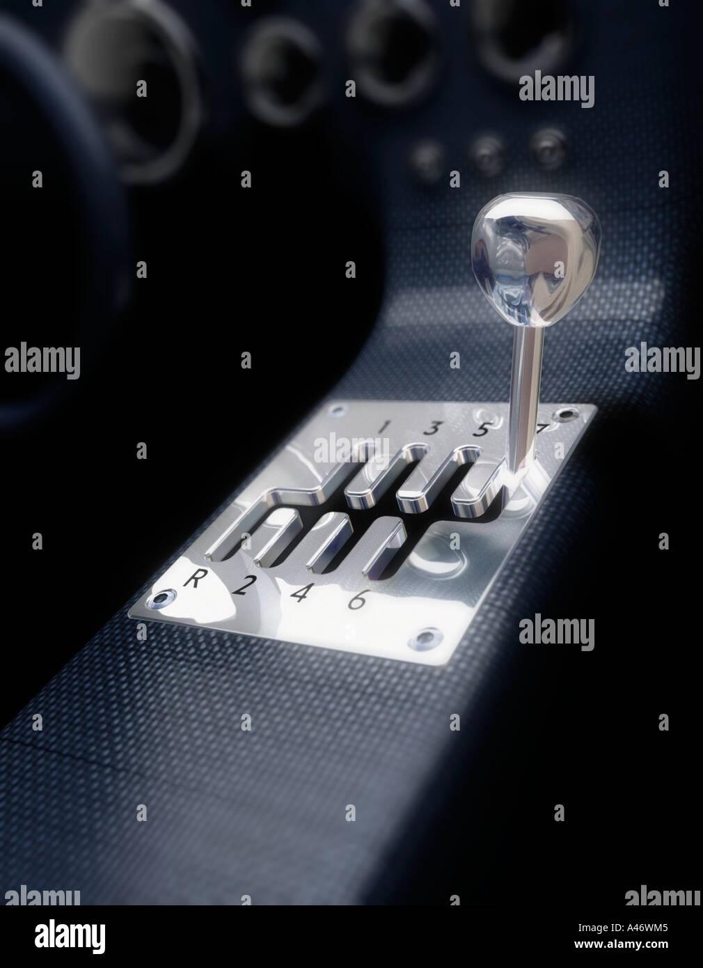 Un sette il concetto di velocità scatola ingranaggi Immagini Stock