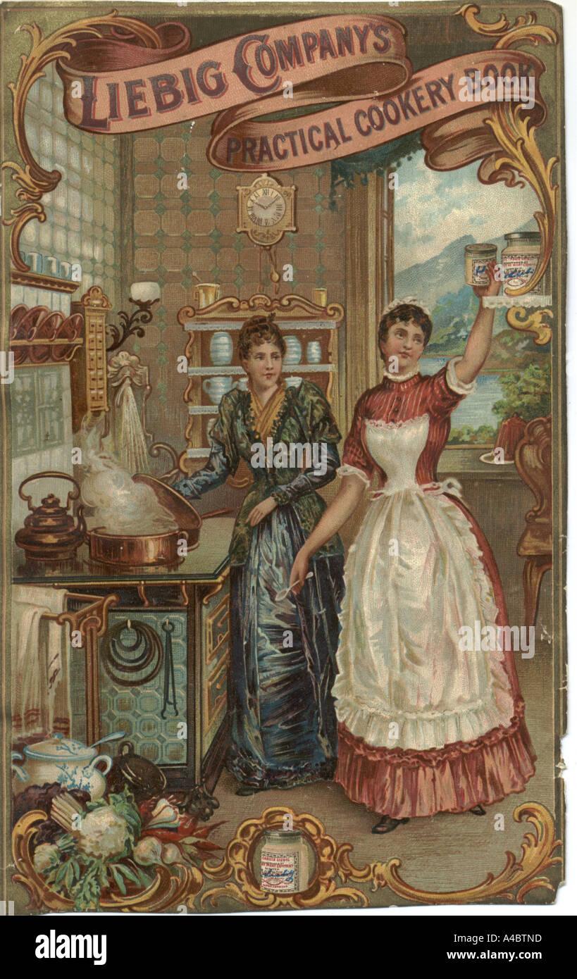 Ricettario copertura da Liebig circa 1880 Immagini Stock
