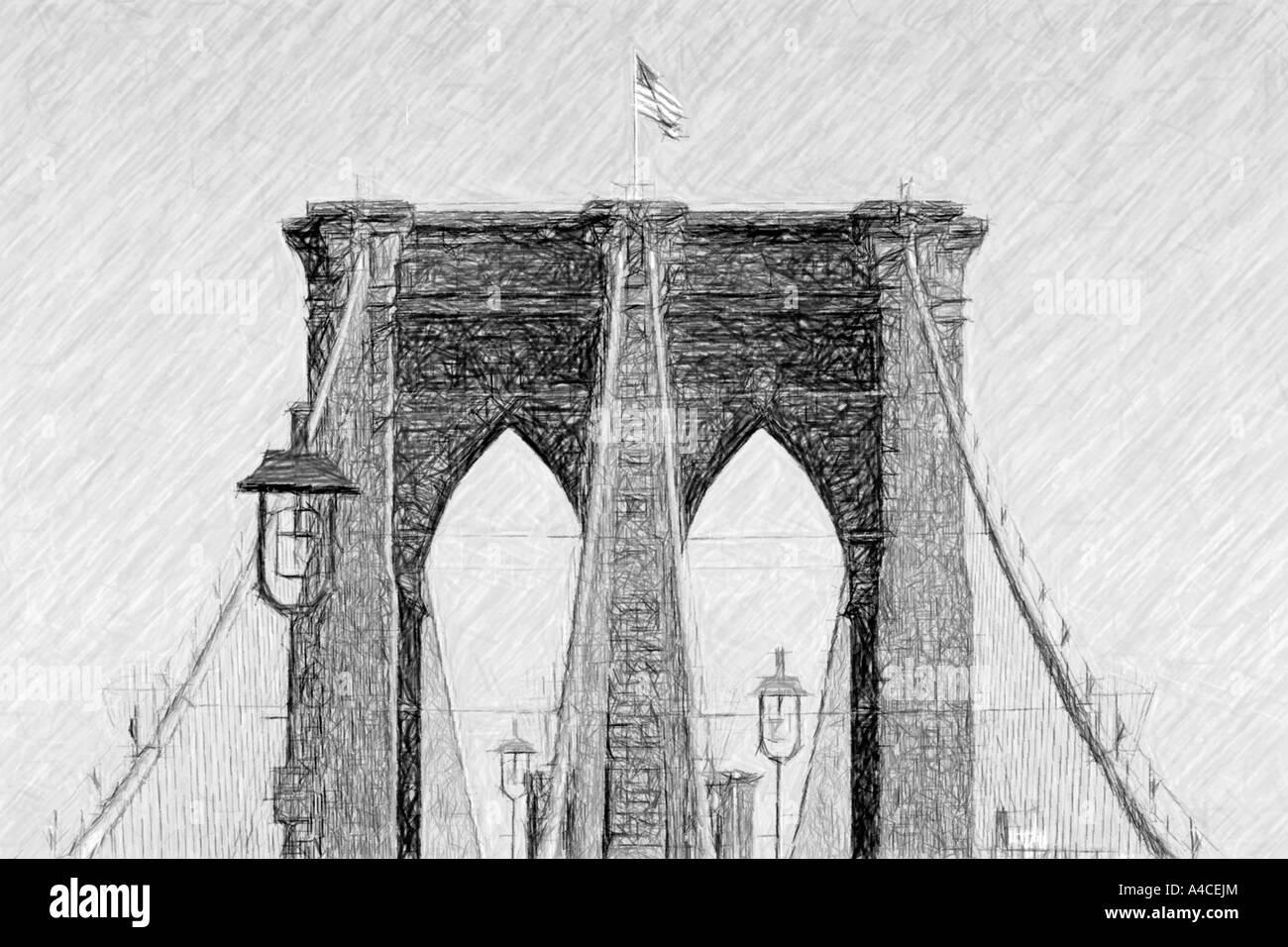 Ponte di Brooklyn come carbone o disegno, reso digitalmente Immagini Stock