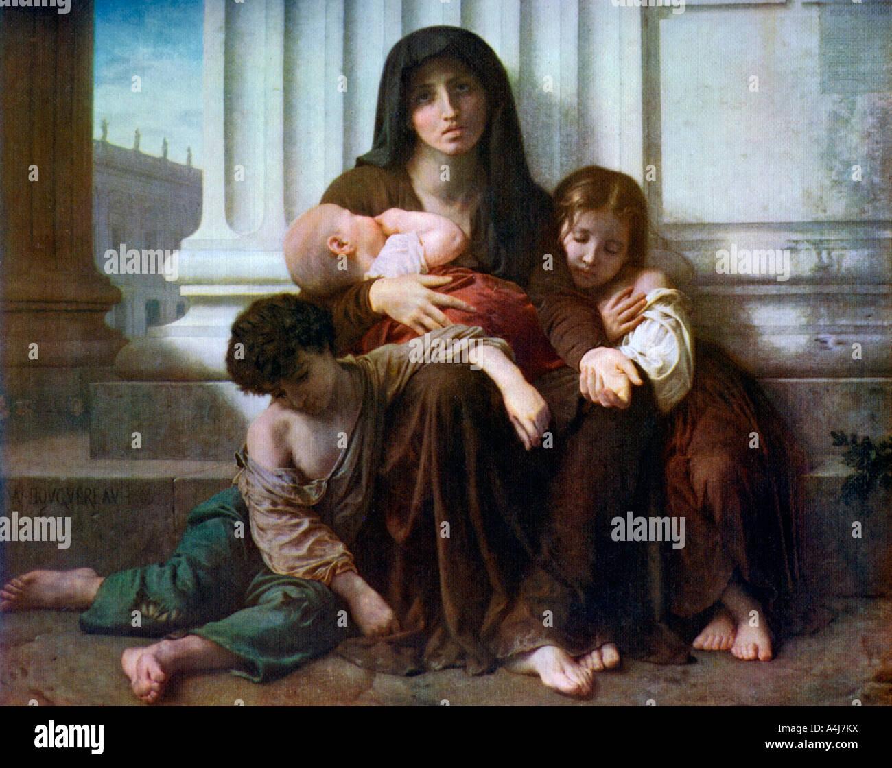 La carità o la famiglia indigenti 1865 1912 Immagini Stock