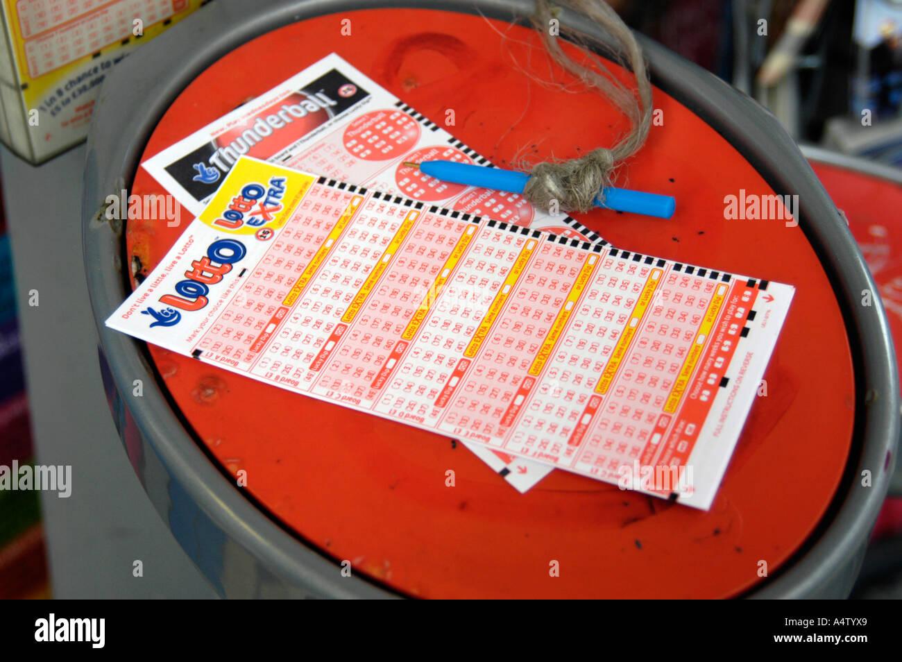 Lotteria nazionale scivola England Regno Unito Immagini Stock