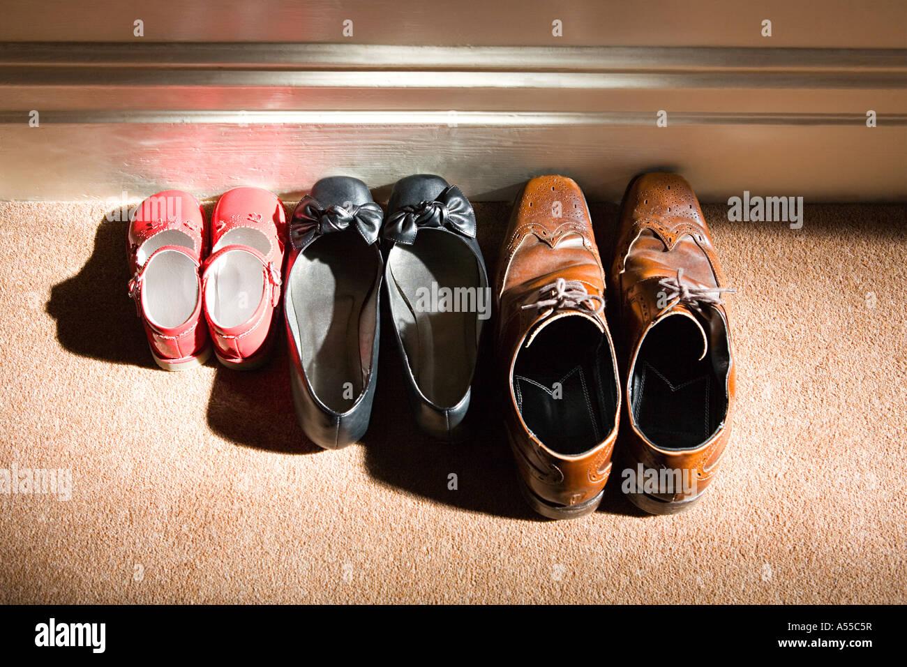 Scarpe di una famiglia Immagini Stock