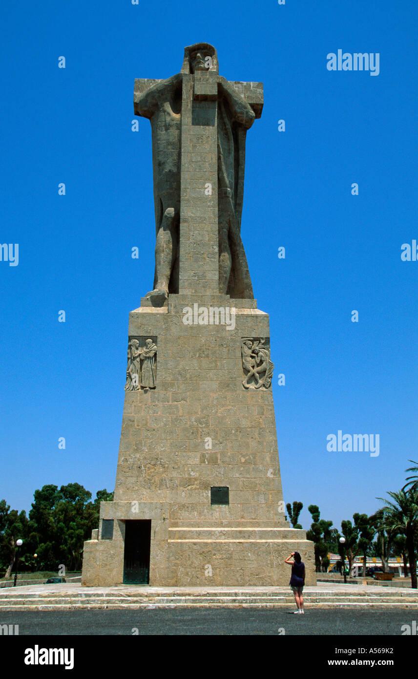 Città di Huelva Kolumbus statua monumento de Colon - Costa de la Luz Andalusia Provincia Huelva spagna Immagini Stock