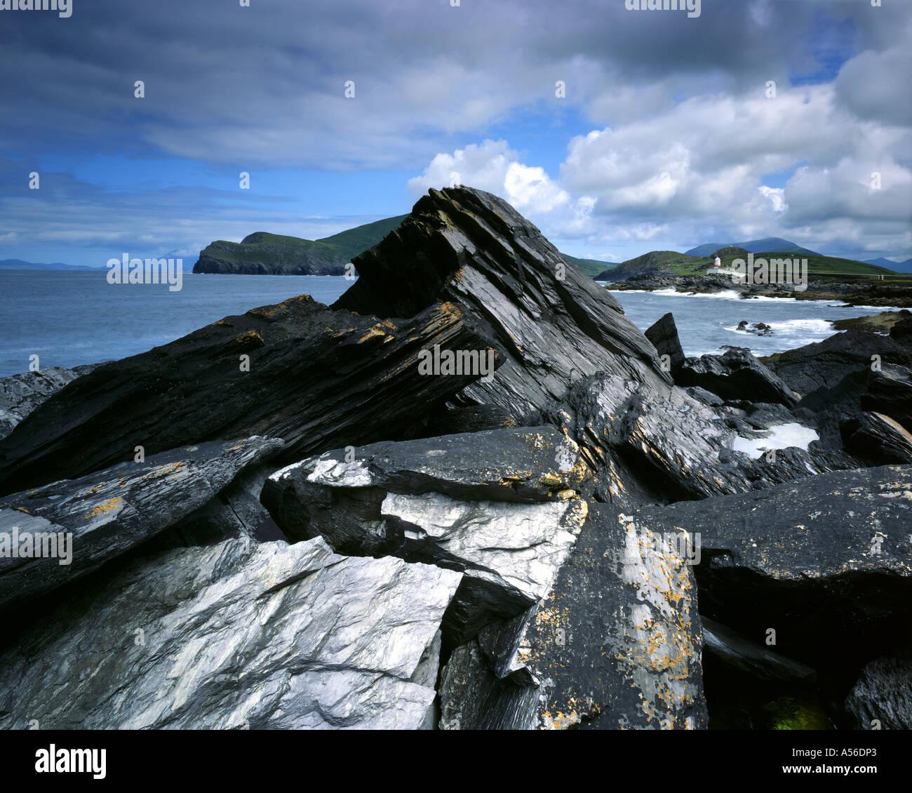 IE - CO KERRY: Valencia faro sull isola di Valencia Immagini Stock