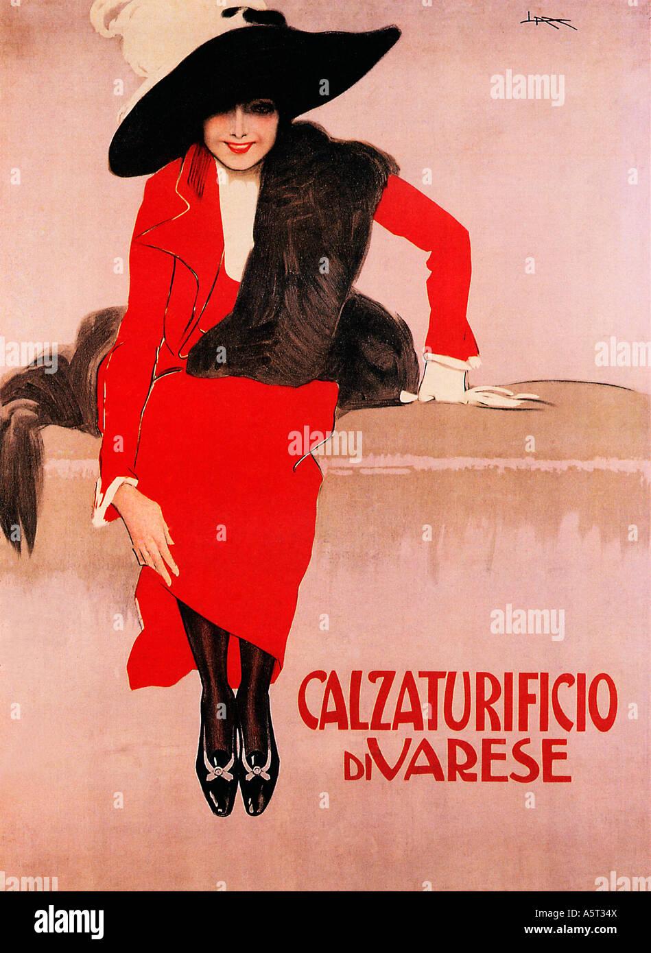 Calzaturificio di Varese classic 1914 poster di Metlicovitz per le scarpe  italiane da Milano Immagini Stock 25d85f602a1