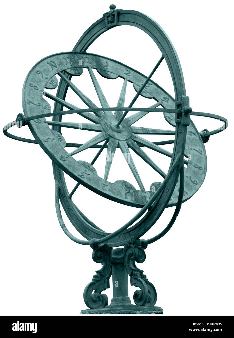 Armilary o meridiana dalla parte anteriore Immagini Stock