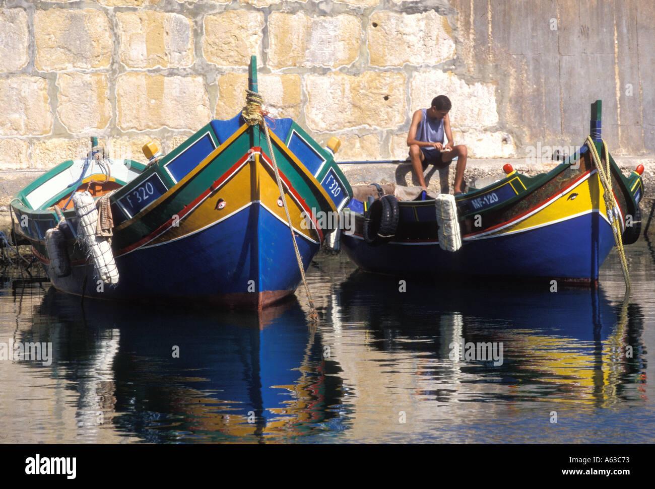 Barche da pesca in Gozo Immagini Stock