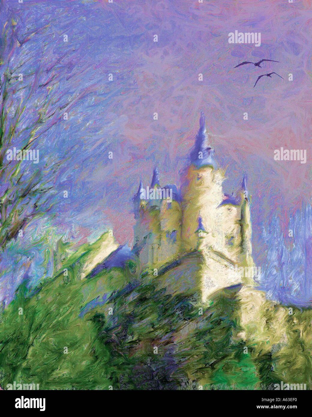 La pittura digitale di Alcazar, Segovia Spagna Immagini Stock