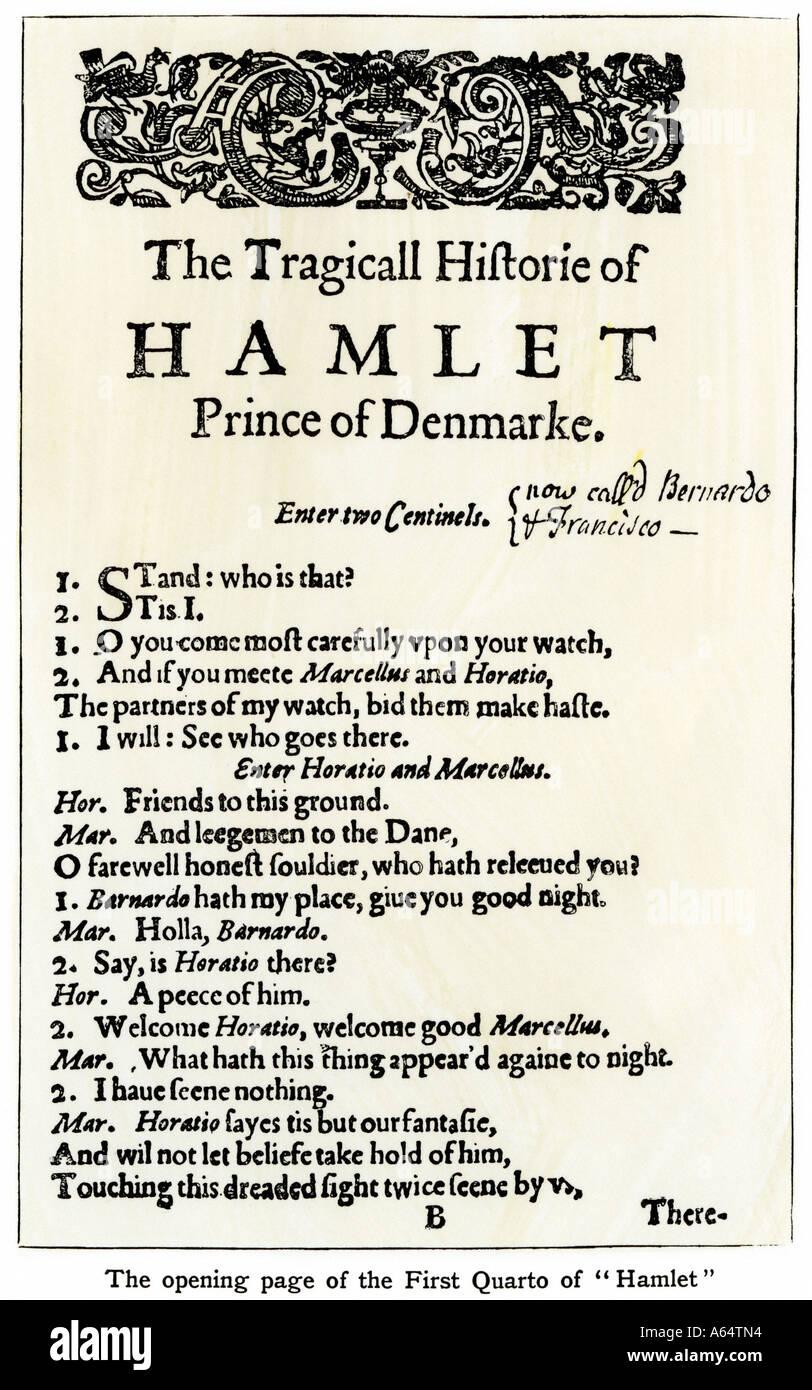 Pagina di apertura della frazione da Shakespeare Primo Quarto. Xilografia con un lavaggio ad acquerello Foto Stock