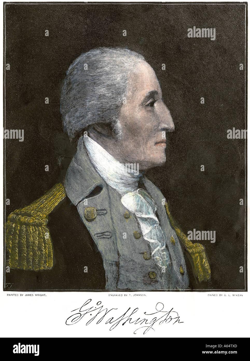 General George Washington profilo. Colorate a mano la xilografia Immagini Stock