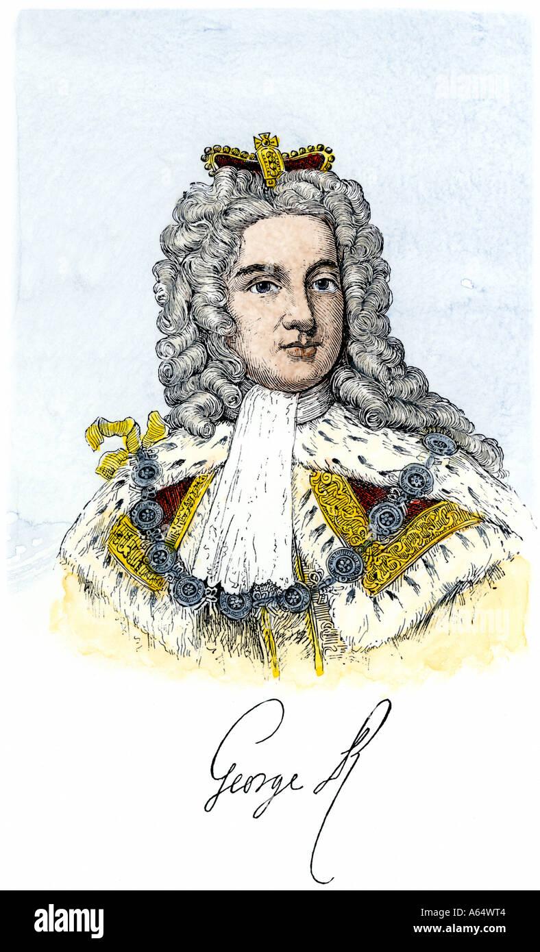 Giorgio II re d'Inghilterra con la sua firma. Colorate a mano la xilografia Immagini Stock