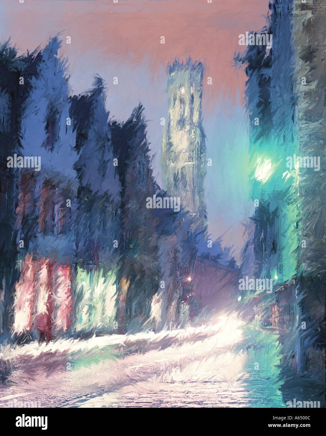 Interpretazione impressionista di Brugge, in Belgio Immagini Stock