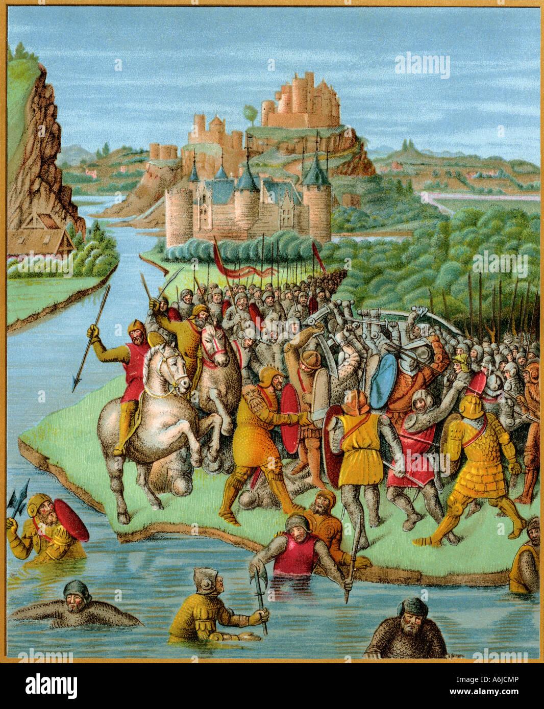 Jonathan combattendo Baccide, da una traduzione in francese di Josephus storia degli Ebrei 1400s. Litografia a colori Immagini Stock