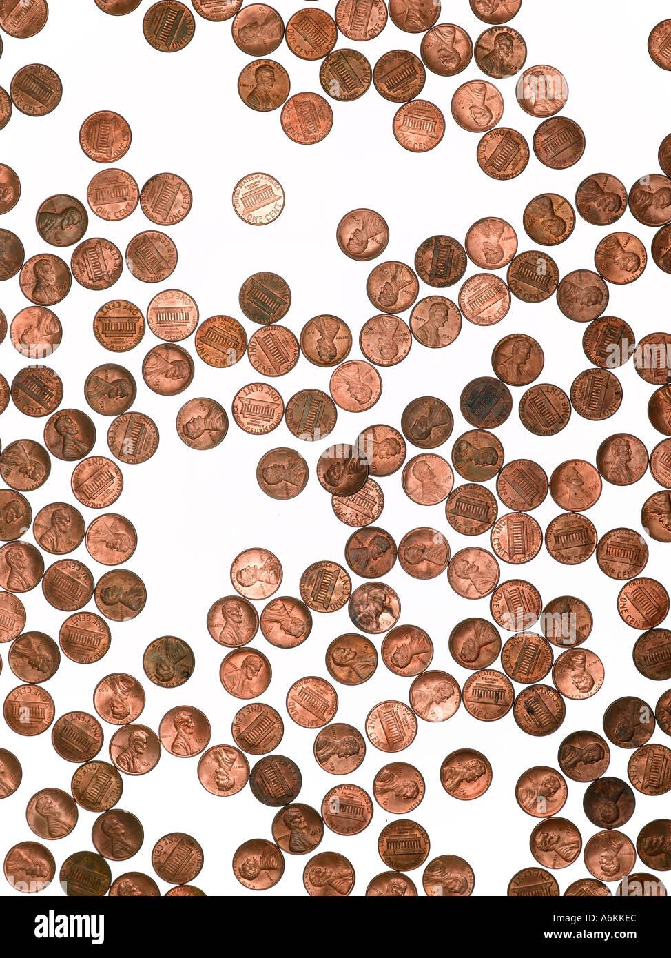 Composizione di un ordine casuale di 1 cent Immagini Stock