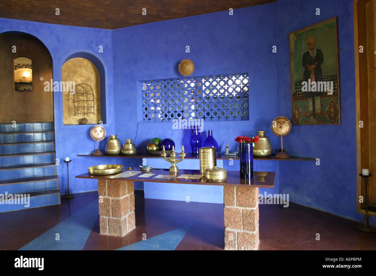Spettacolare area ricevimento nel designer Nilaya Hermitage boutique hotel in Goa in India Immagini Stock