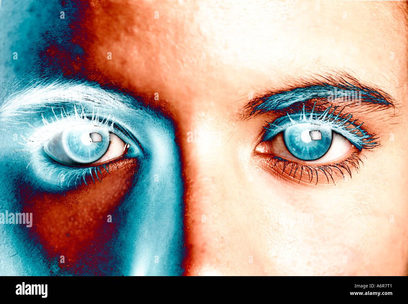 Concetto closeup di solarized occhi di una giovane donna Immagini Stock