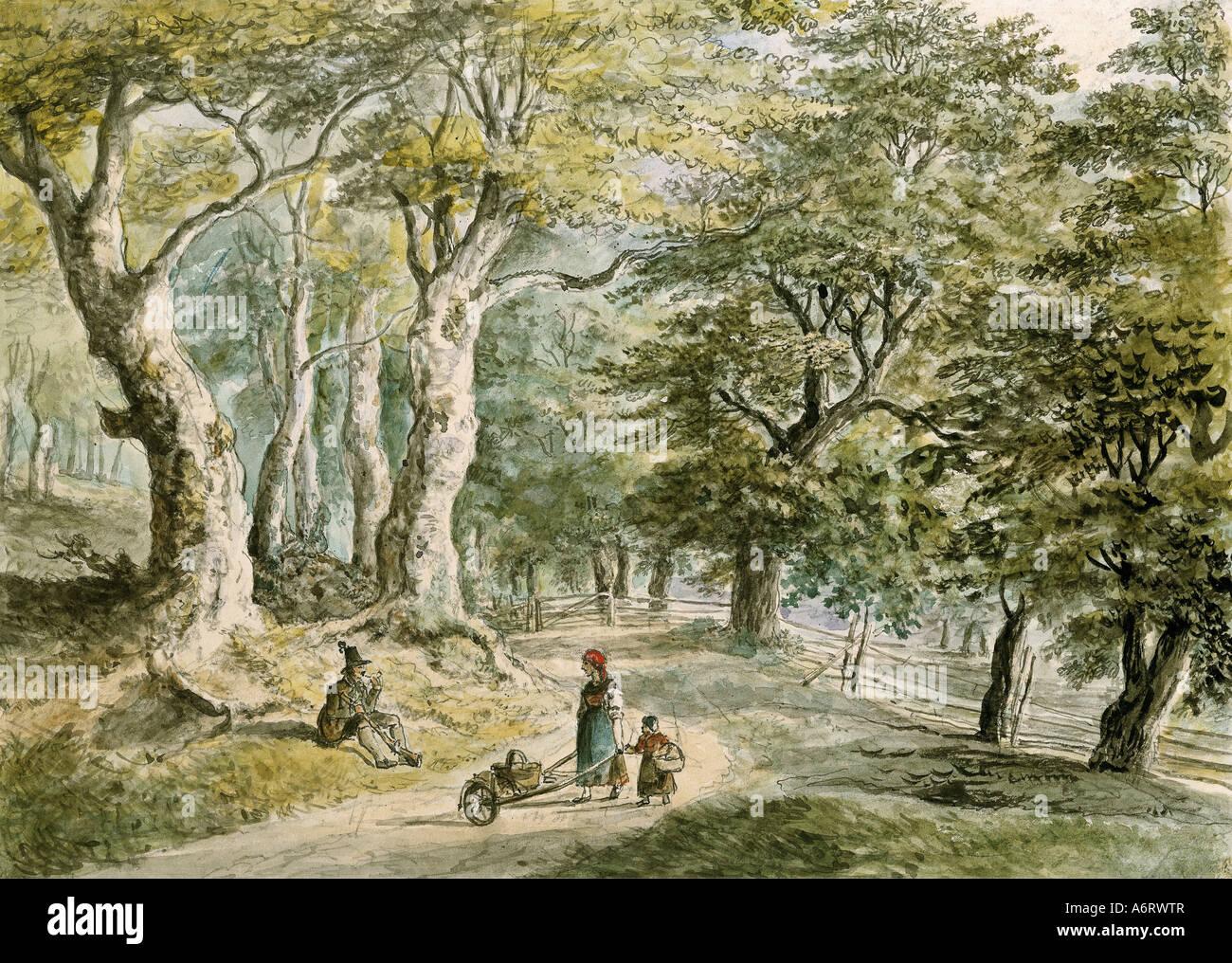 Belle arti, Dorner, Johann Jakob, il giovane (1775 - 1852), forrest vicino Dietramszell, acquerello, 21,6x30 cm, Immagini Stock