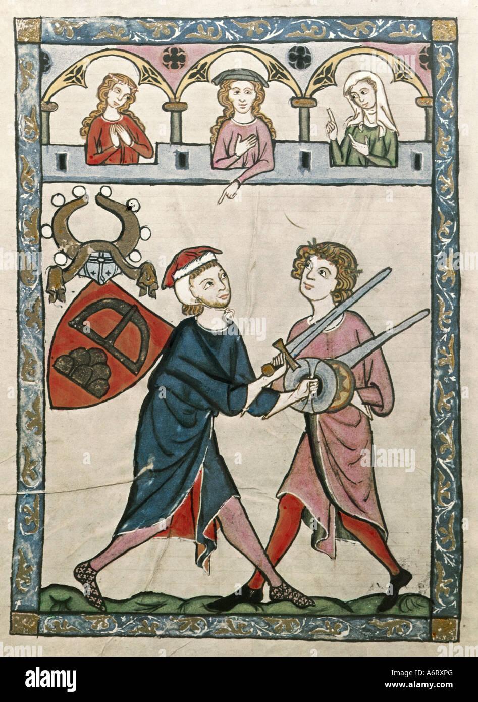 Belle arti, medioevo, gotico, illuminazione, Codex Manesse, Zurigo, 1305 - 1340, Johann von Ringgenberg, coprendo Immagini Stock