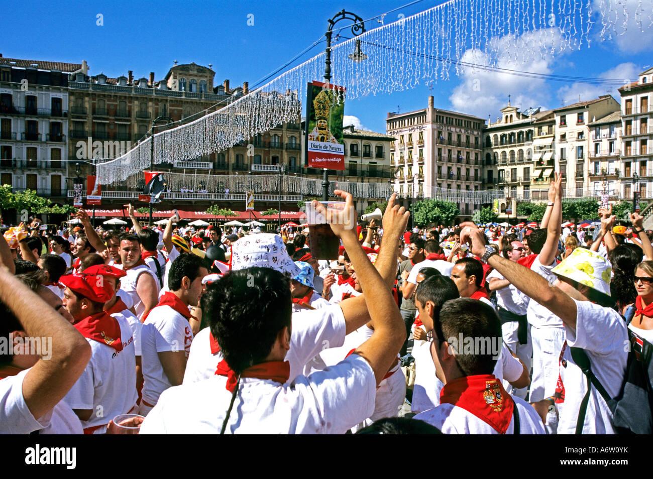 Fiesta in Pamplona con toro corsa annualmente dal 06 al 14 di luglio, Pamplona Spagna Immagini Stock