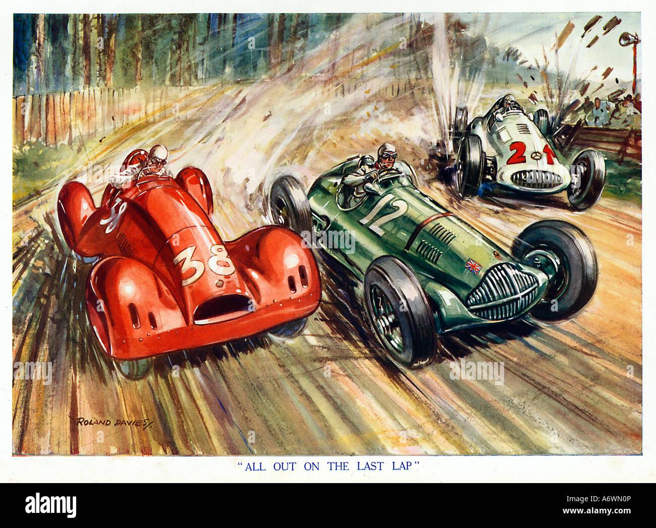 Tutti fuori all'ultimo giro 1930 s boys magazine illustrazione del culmine di una gara automobilistica Immagini Stock
