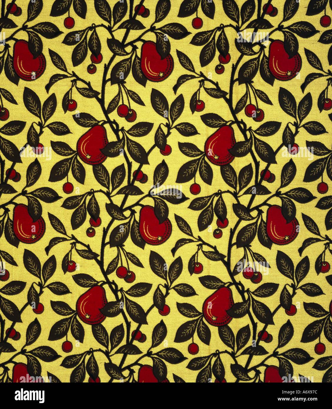 Le pere e le ciliegie di tessuti di arredamento da Bruce James Talbert. Inghilterra, fine del XIX secolo. Immagini Stock
