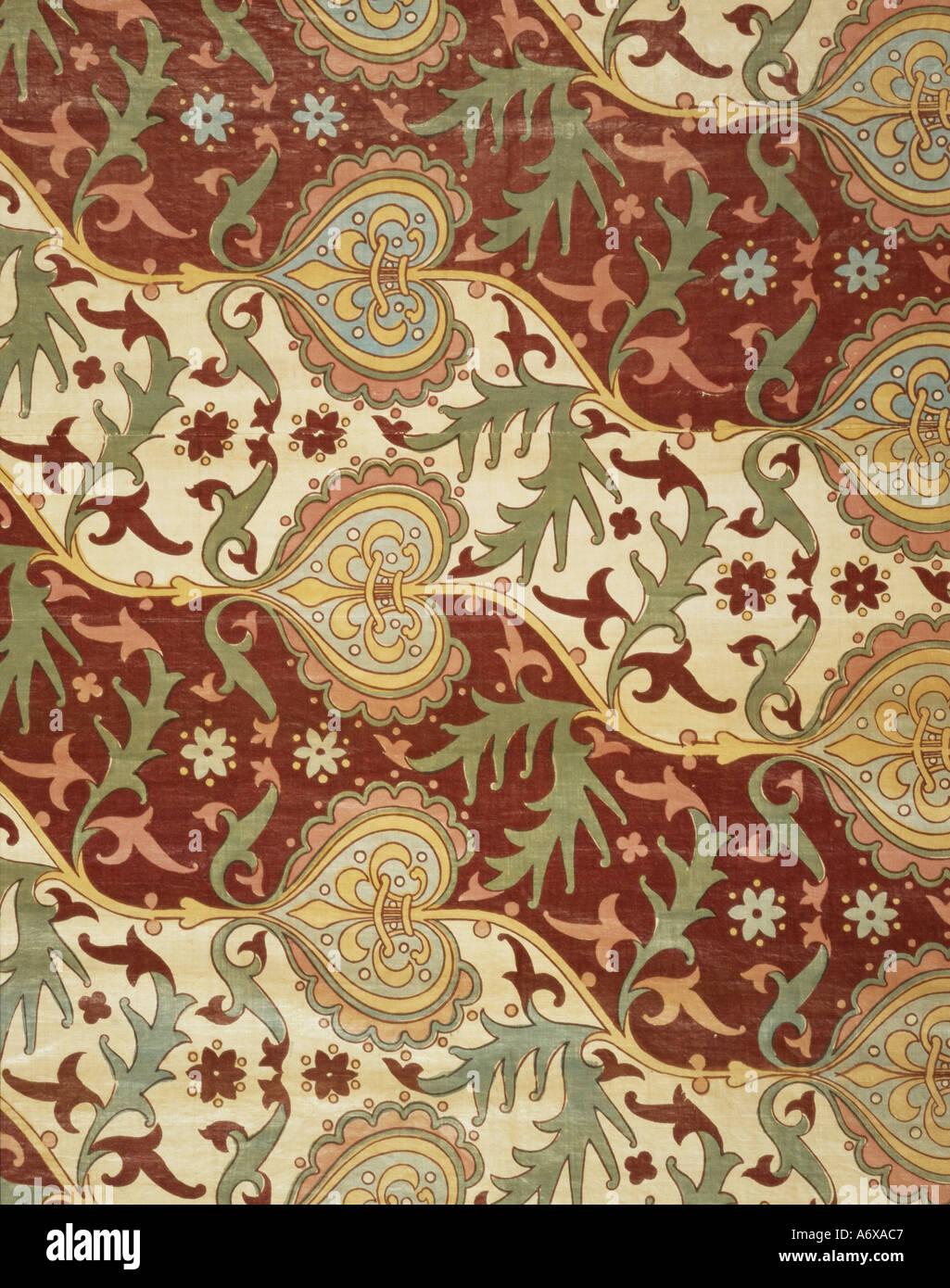 Arabesque gotica, tessili da A.W.N. Pugin. Inghilterra, metà del XIX secolo. Immagini Stock