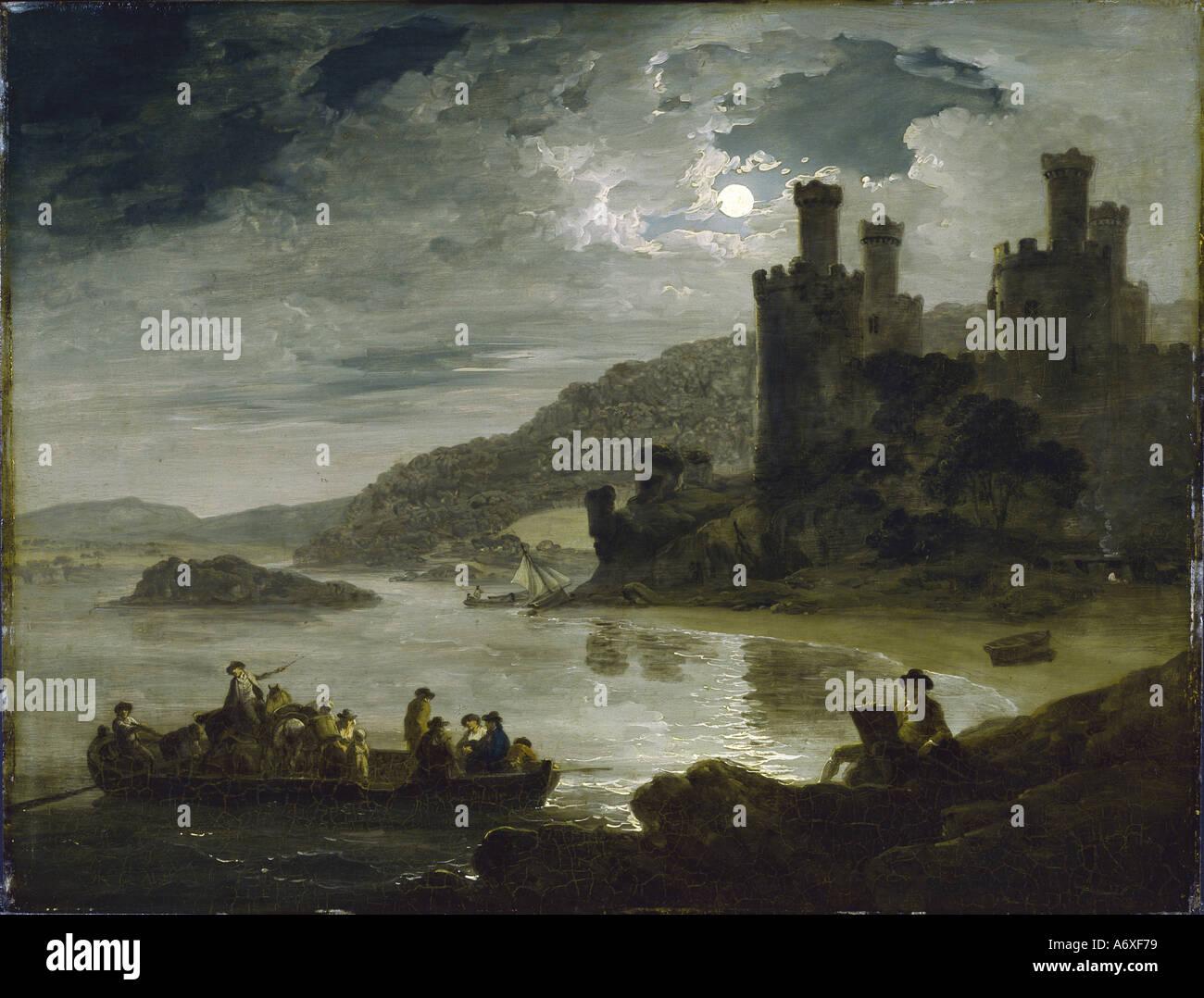 Conway castello di notte da Julius Caesar Ibbetson. Inghilterra, 1794. Immagini Stock