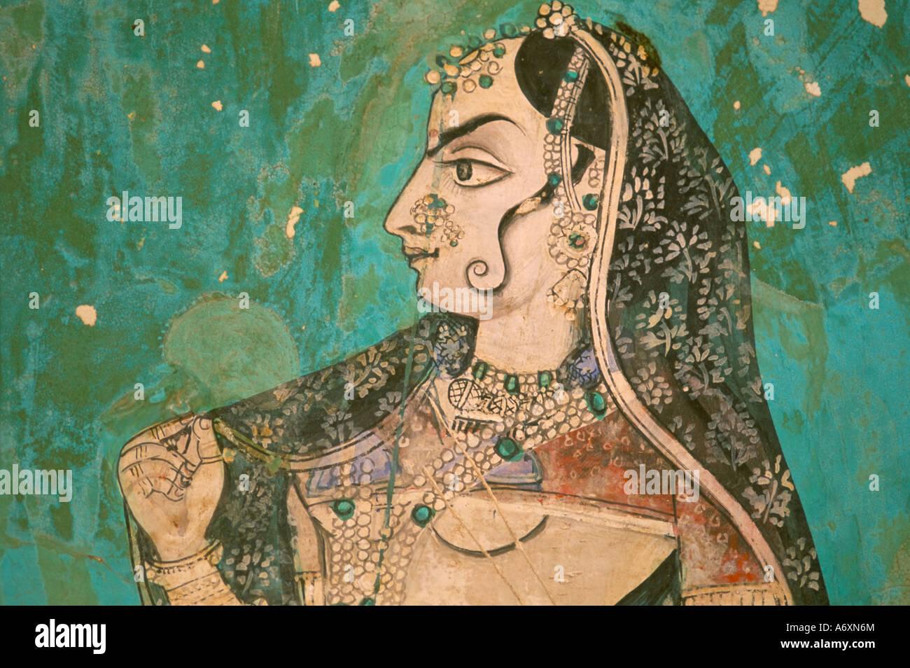 Pittura nel palazzo di Bundi Rajasthan India Asia Immagini Stock