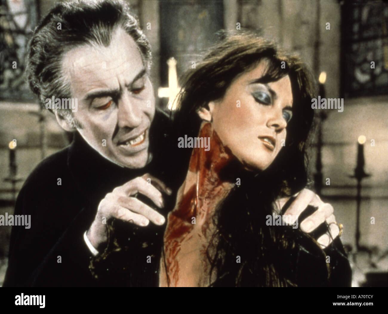 DRACULA ANNUNCIO 1972 -Warner 1972 film con Christopher Lee e Caroline Munro Immagini Stock