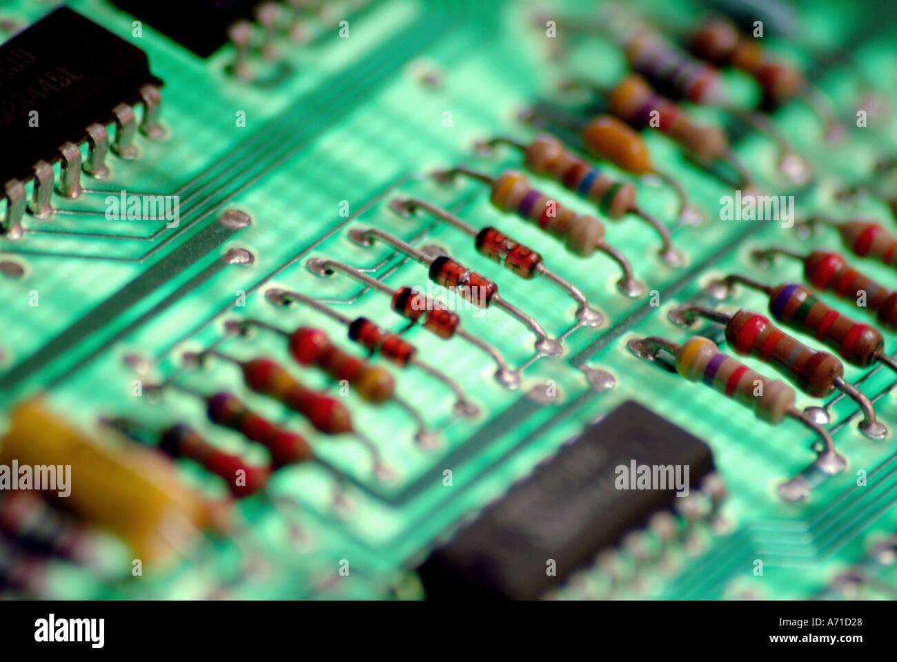 Dettaglio del computer la scheda a circuito stampato Immagini Stock