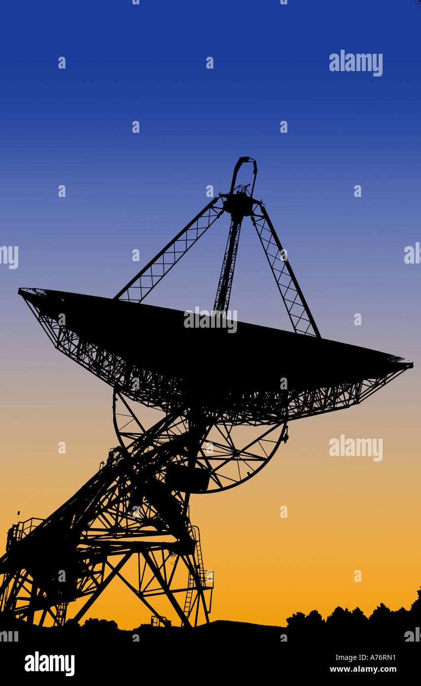 Il grafico del telescopio alla Radio Nazionale Osservatorio Astronomico di Banca Verde in West Virginia, Stati Uniti d'America Immagini Stock