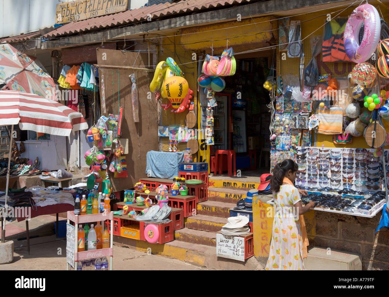 Beachfront Shop, Calangute Beach, Goa nord, Goa, India Immagini Stock