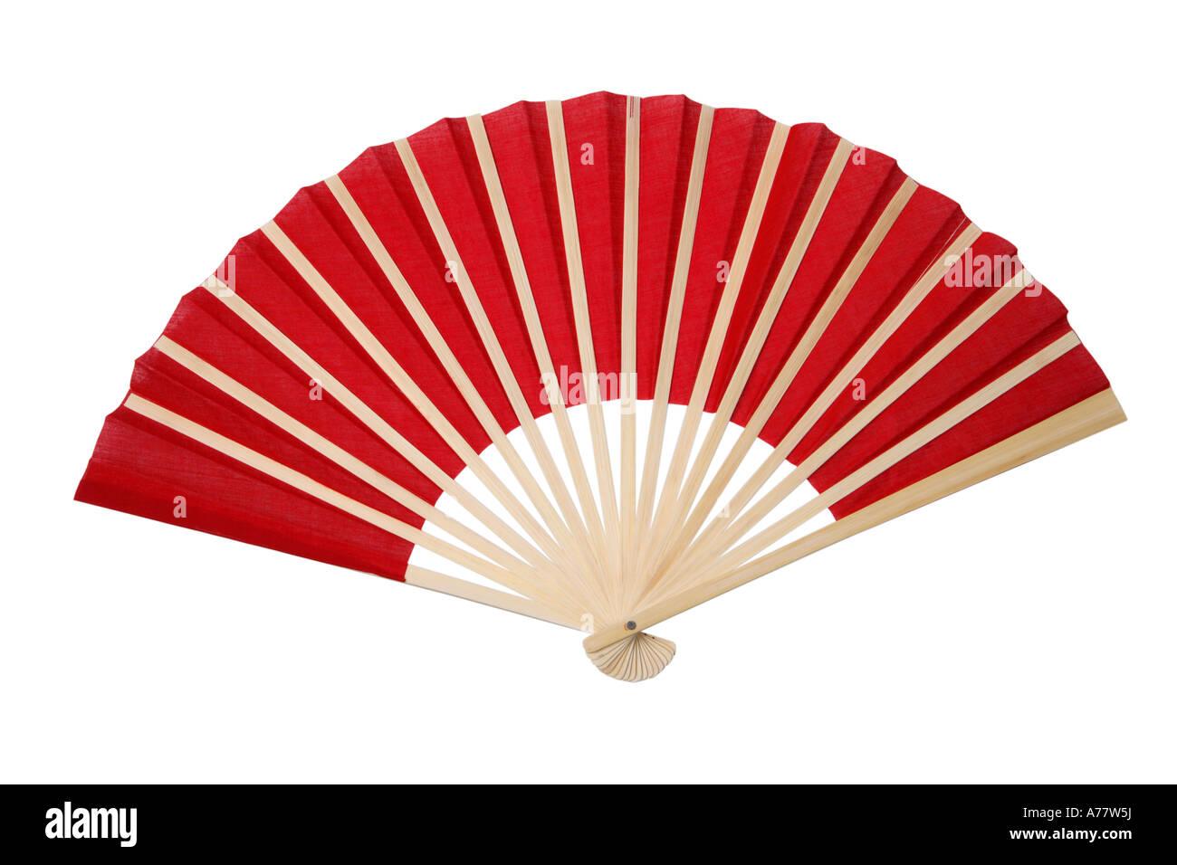 Rosso fan asiatici ritagliata su sfondo bianco Immagini Stock