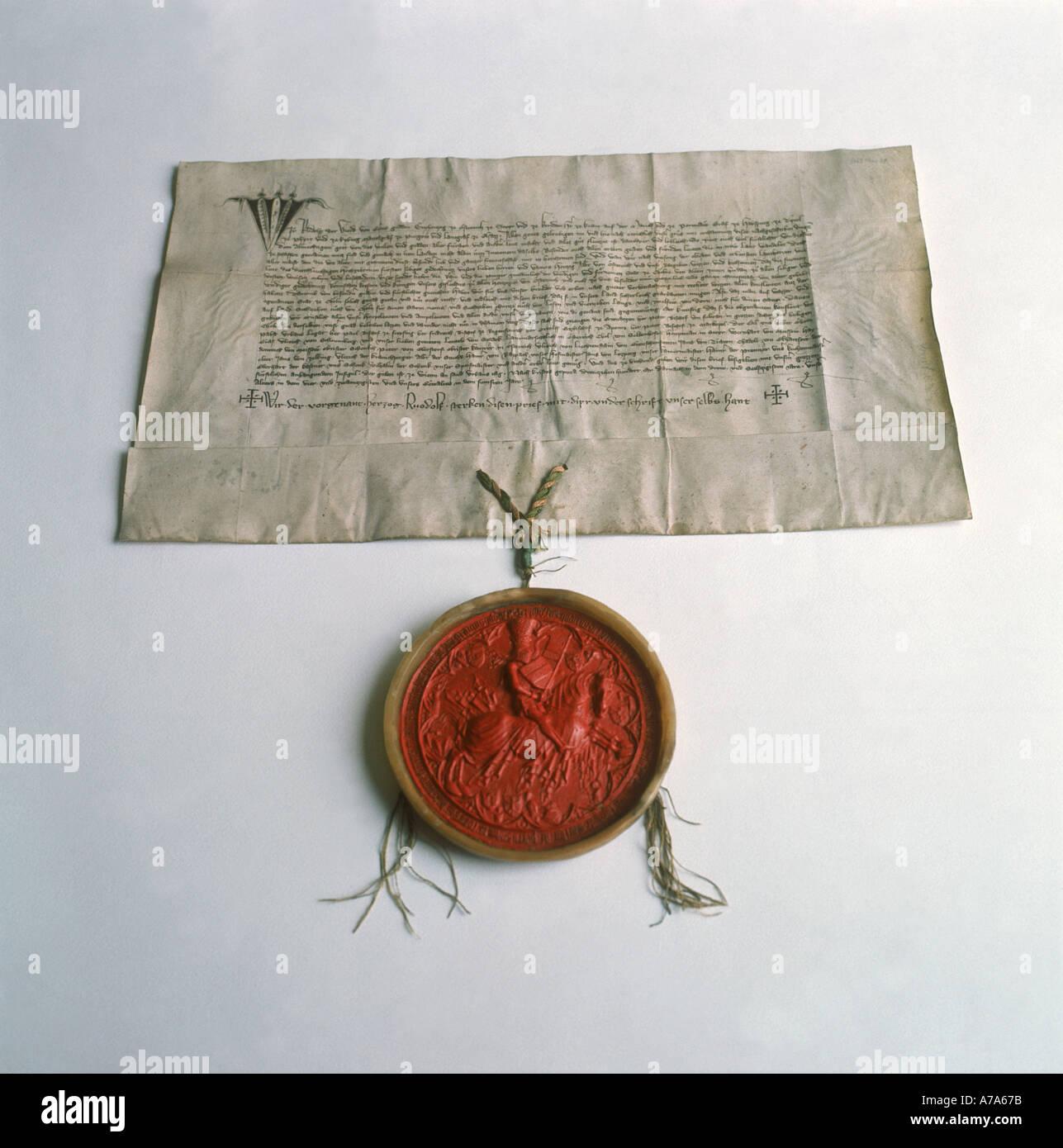 Documento con tenuta a Colonia archivio storico città di Colonia contea di Westfalia Germania Immagini Stock