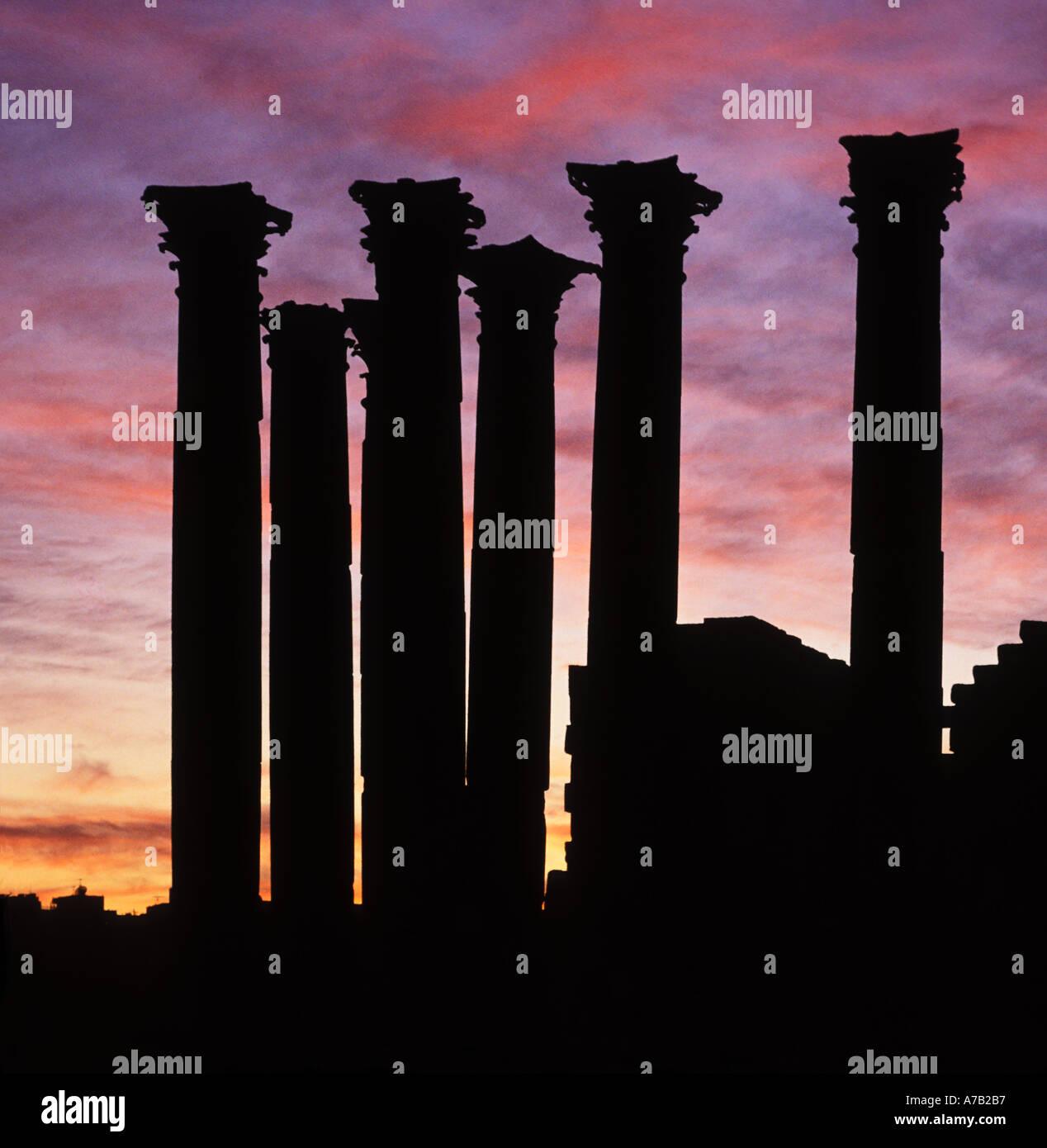Tempio di Artemide paese Jerash Giordania al tramonto Immagini Stock