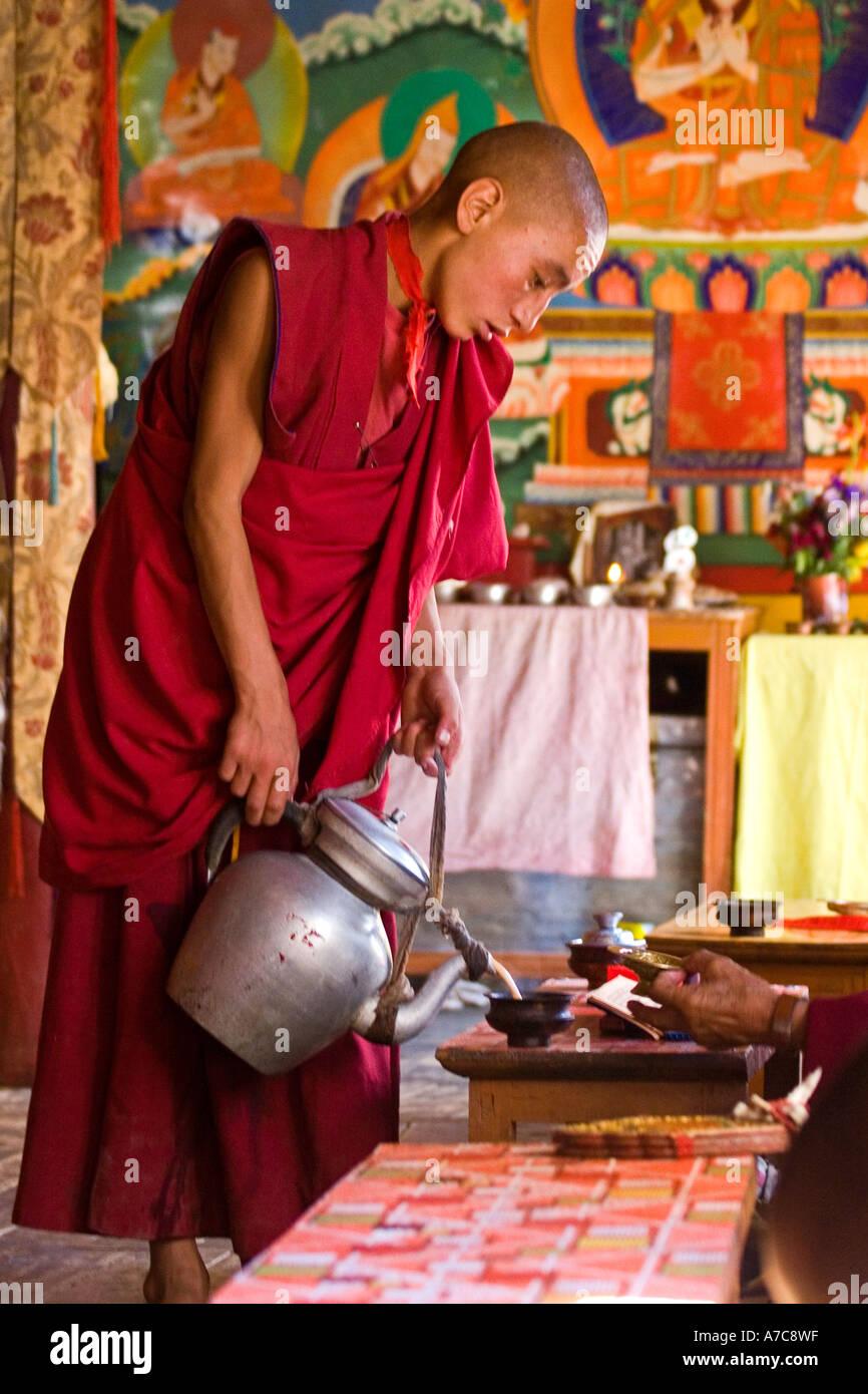 Giovani monaci e giovane monaco puring tè durante la cerimonia - Ladakh - Himalaya indiano Immagini Stock