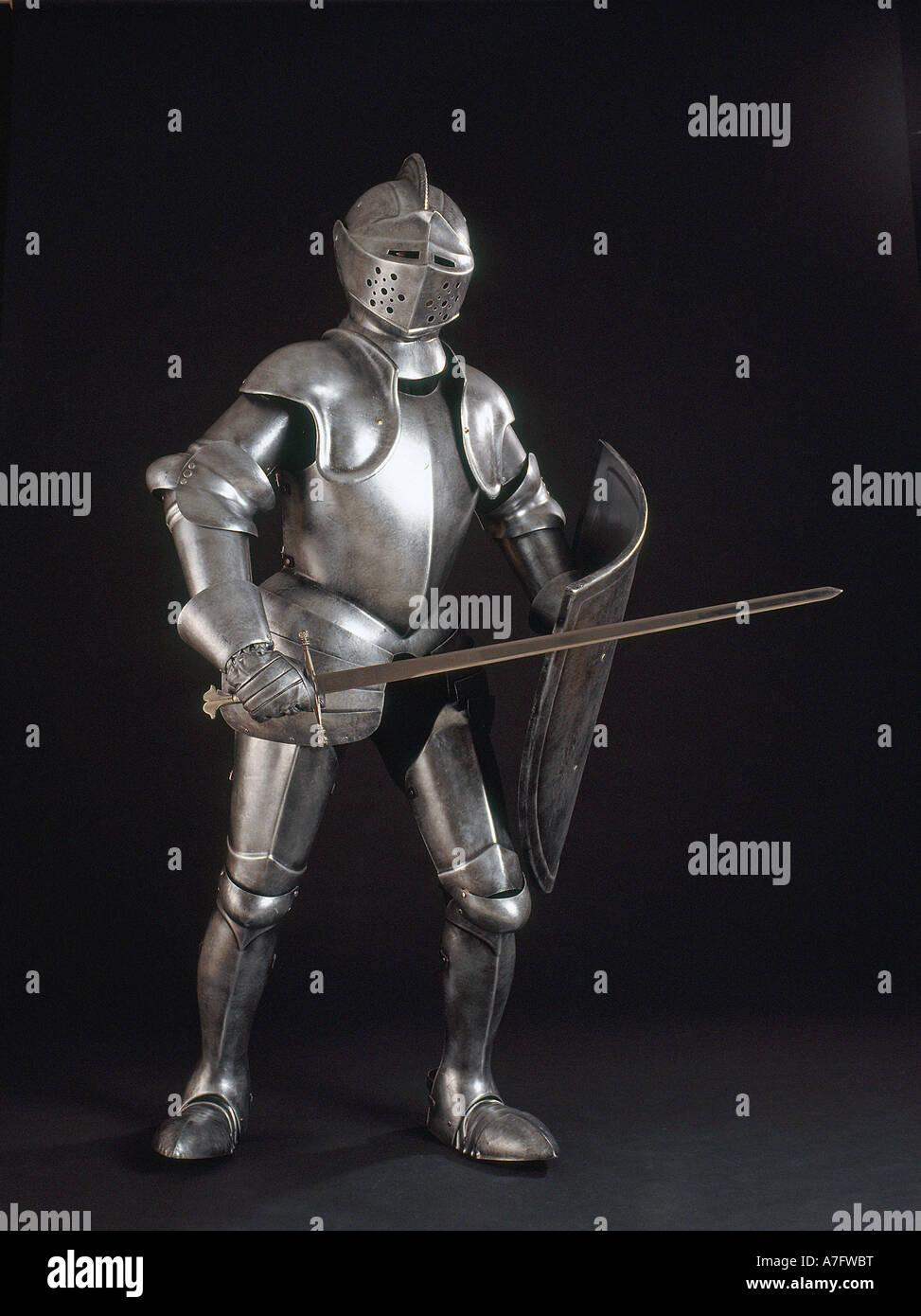 Cavaliere in armatura lucente verticale Immagini Stock