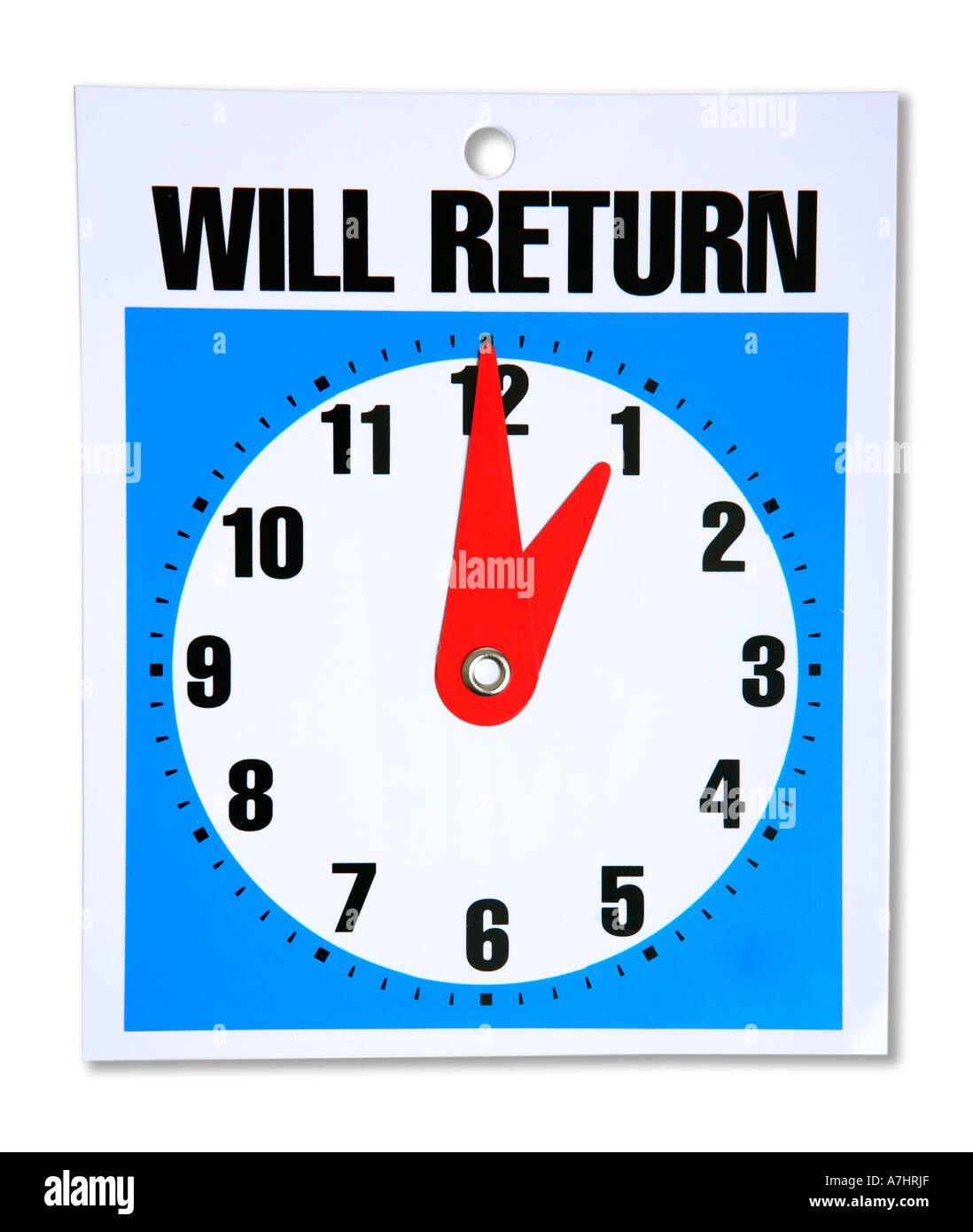 Tornerà orologio Immagini Stock